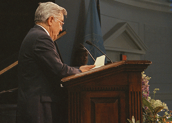 William C. Friday during the memorial service for Charles Kuralt. Photograph by Hugh Morton, as cropped by the editor.