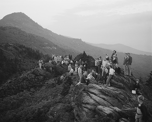 A group of eclipse enthusiasts gathered on Grandfather Mountain early in the morning on 1 September 1951. Do you recognize anyone in the photograph?
