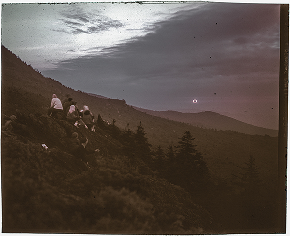 A color-corrected scan of Hugh Morton's color transparency made during totality of the September 1, 1951 annular eclipse. The original Ektachrome Daylight Film transparency has severe magenta color shift, and the color correction is to the blog editor's personal taste. The transparency had been in a glass lantern slide, the 4x5 sheet film hand-trimmed by Morton to fit smaller format.