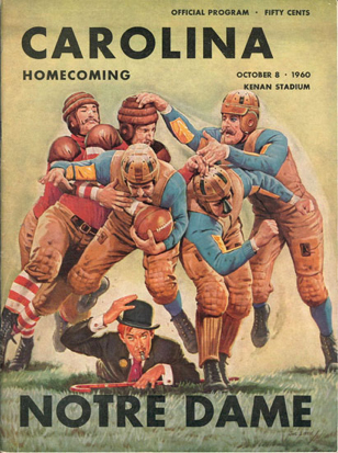 Cover of the 1960 UNC versus Notre Dame football game program, from the author's collection.