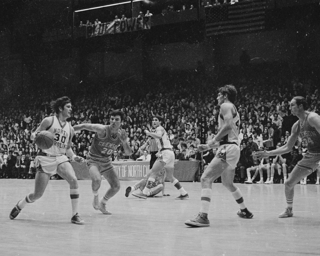 Dale Gipple dribbling to the right side of the key during the 1971 Clemson at UNC basketball game.