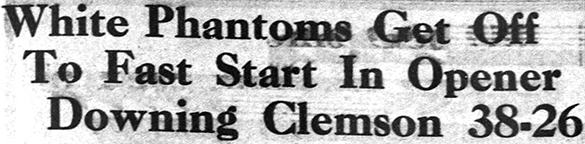 """Headline from the 4 January 1934 issue of The Daily Tar Heel: """"White Phantoms Get Off To Fast Start In Opener Downing Clemson 38–26"""""""