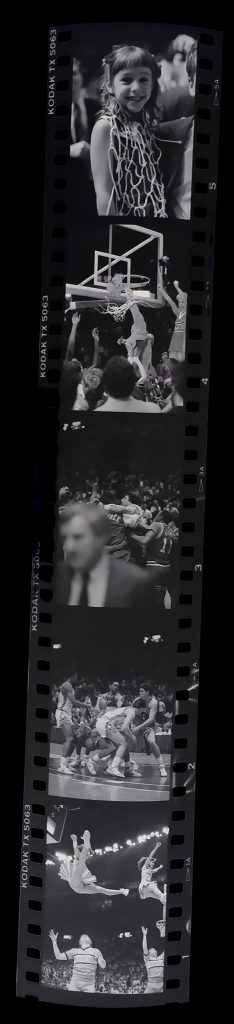 Strip of black-and-white negatives from 1987 ACC Tournament final