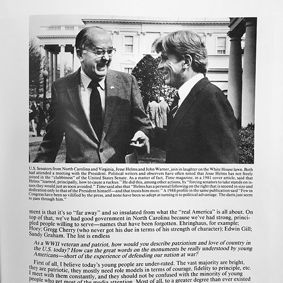 Jesse Helms and John Warner, from book Making a Difference in North Carolina