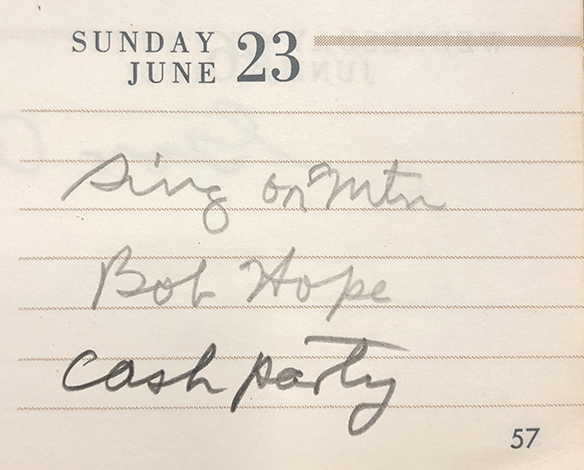 Hugh Morton executive planner entry for Sunday, June 23, 1974