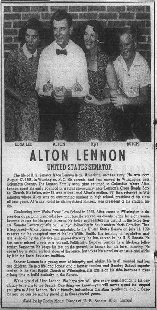 Lennon political advertisement in The Evening Telegram