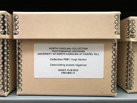 Box containing deteriorating acetate negatives