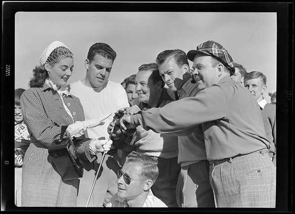 Margaret Sheridan, Otto Graham, Harry Wismer, Charlie Justice, and Earl Stewart