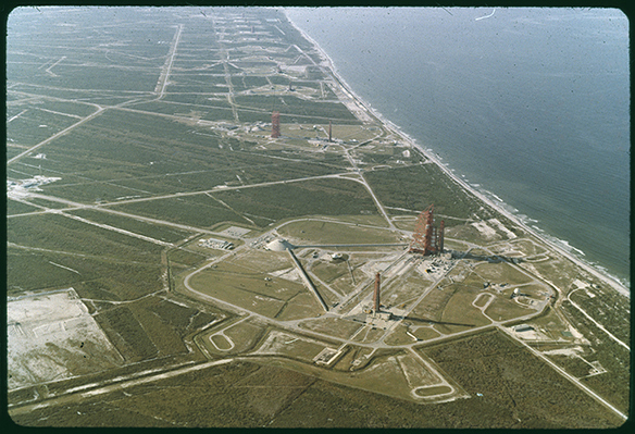 Aerial view of launchpads at Kennedy Space Center