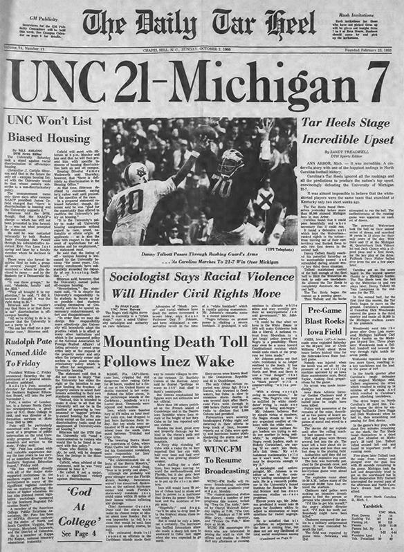 Daily Tar Heel front page October 2 1966
