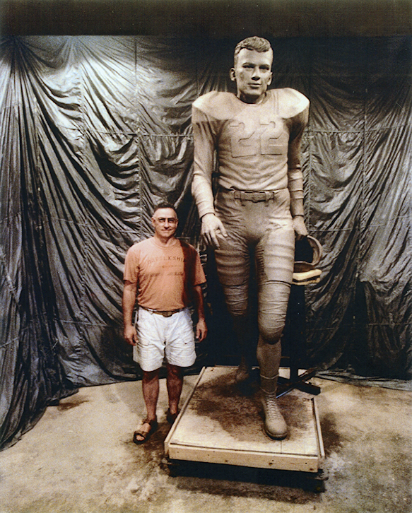 Sculptor Johnpaul Harris poses with the clay Charlie Justice statue in his Ashboro, North Carolina studio during the second Justice-era player review on June 22, 2004. The original negatives for this view, and the installation and dedication images below have not yet been located within the Moron collection. Scans made for this article come from inkjet prints provided by the author.