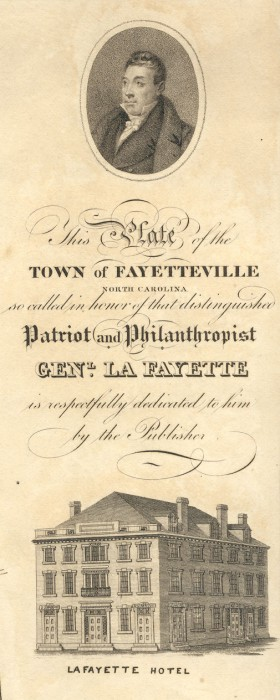 "Detail of John MacRae, ""This Plate of the Town of Fayetteville North Carolina so called in honor of that distinguished Patriot and Philanthropist Genl. La Fayette is respectfully dedicated to him by the Publisher."" Fayetteville, N.C.: [1825]."