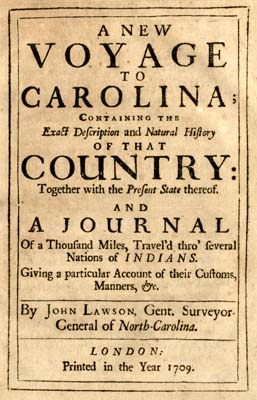 Title page of A New Voyage to Carolina