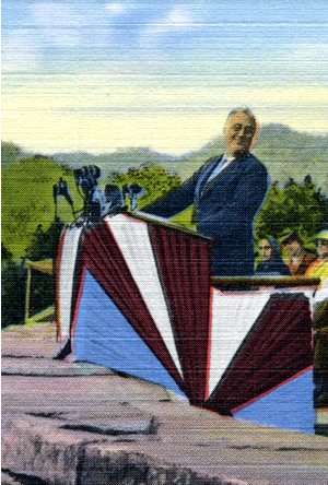Postcard of Roosevelt speaking at dedication of Great Smoky Mountain National Park