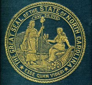 State seal from Volume 1 of State and Colonial Records