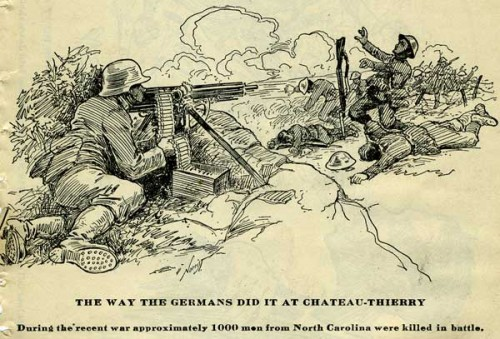 "Image with caption ""The way the Germans did it at Chateau Thierry"" from The Health Bulletin. Raleigh, North Carolina State Board of Health. vol. 34:10 (October, 1919)"