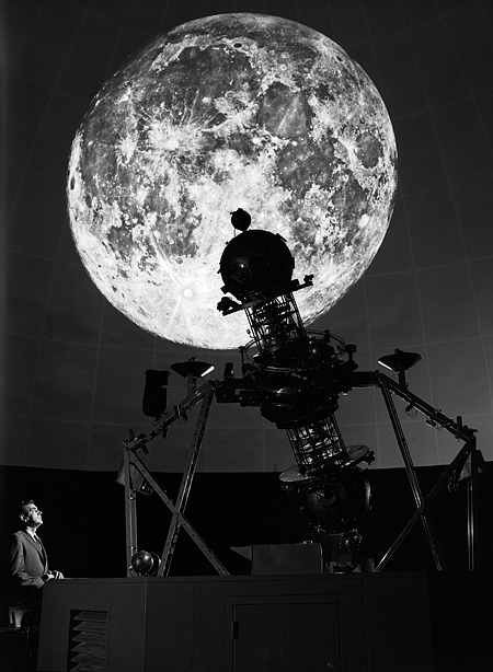 The moon as projected inside Morehead Planetarium.  Photographer Richard McKee.