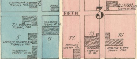 Detail from page one of the 1885 Winston and Salem Sanborn Map
