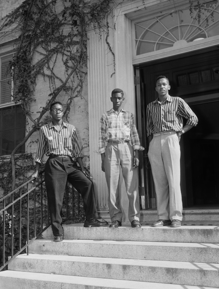 Leroy Frasier, John Lewis Brandon, and Ralph Frasier (left to right), all from Durham, North Carolina, on the steps of South Building after completing court-ordered registration at UNC, 15 September 1955. Roland Giduz, photographer, negative 979.