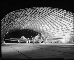 Photograph with View of Piedmont Airlines' DC-3s in a hangar in Wilmington, NC, ca. 1948.