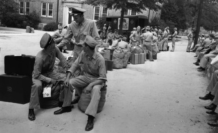 Cadets leave base, circa 1943