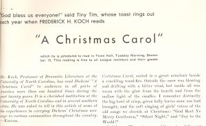 "Opening of Proff Koch article on ""A Christmas Carol"""