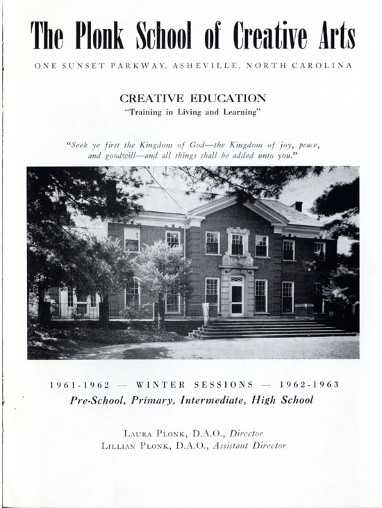 First page of Plonk School catalog