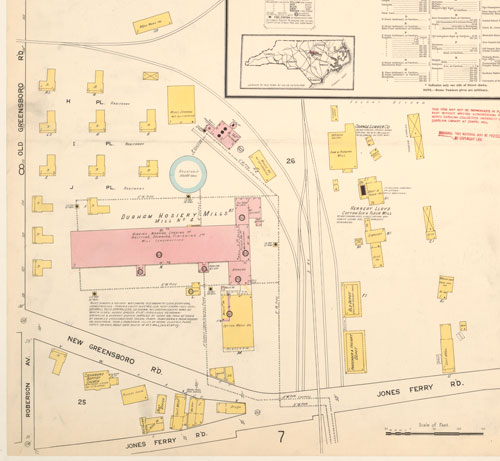 Cropped 1915 Sanborn map featuring Carrboro