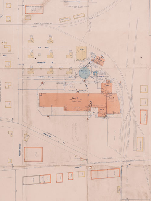 Cropped fire insurance map of Pacific Mills facilities in Carrboro