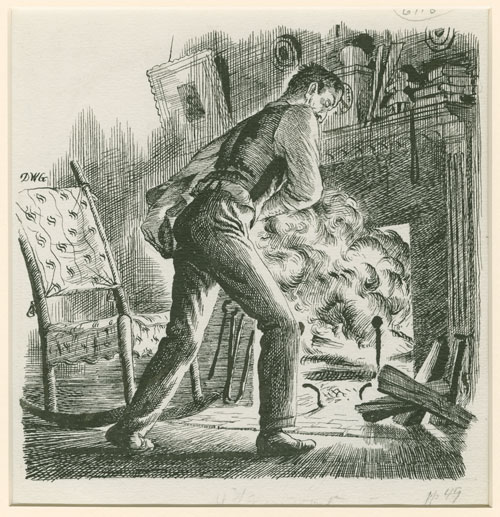 Douglas Gorsline illustration of Gant building fire in Look Homeward, Angel