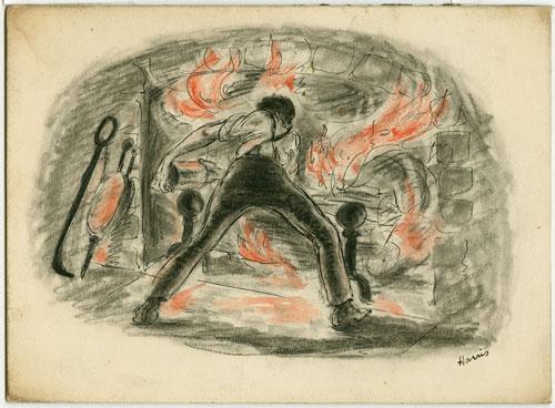 Harvey Harris illustration of Gant building fire in Look Homeward, Angel