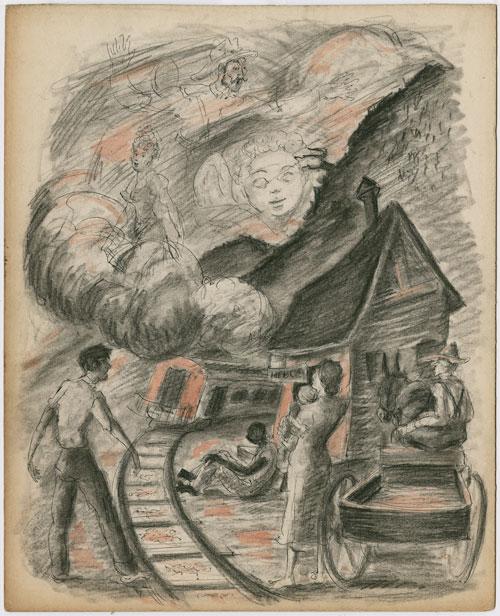 Harvey Harris illustration of Train to Altamont for Look Homeward, Angel