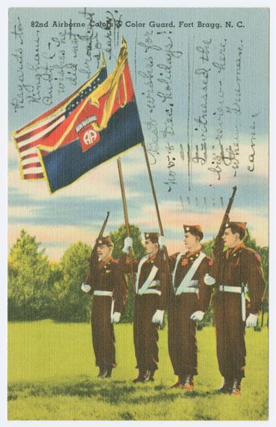 Postcard of Fort Bragg Color Guard