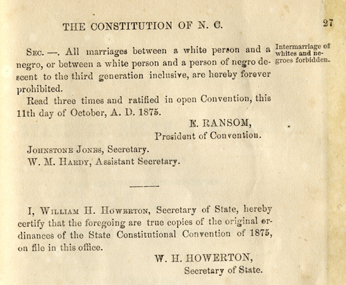 Text of constitutional amendment outlawing interracial marriage
