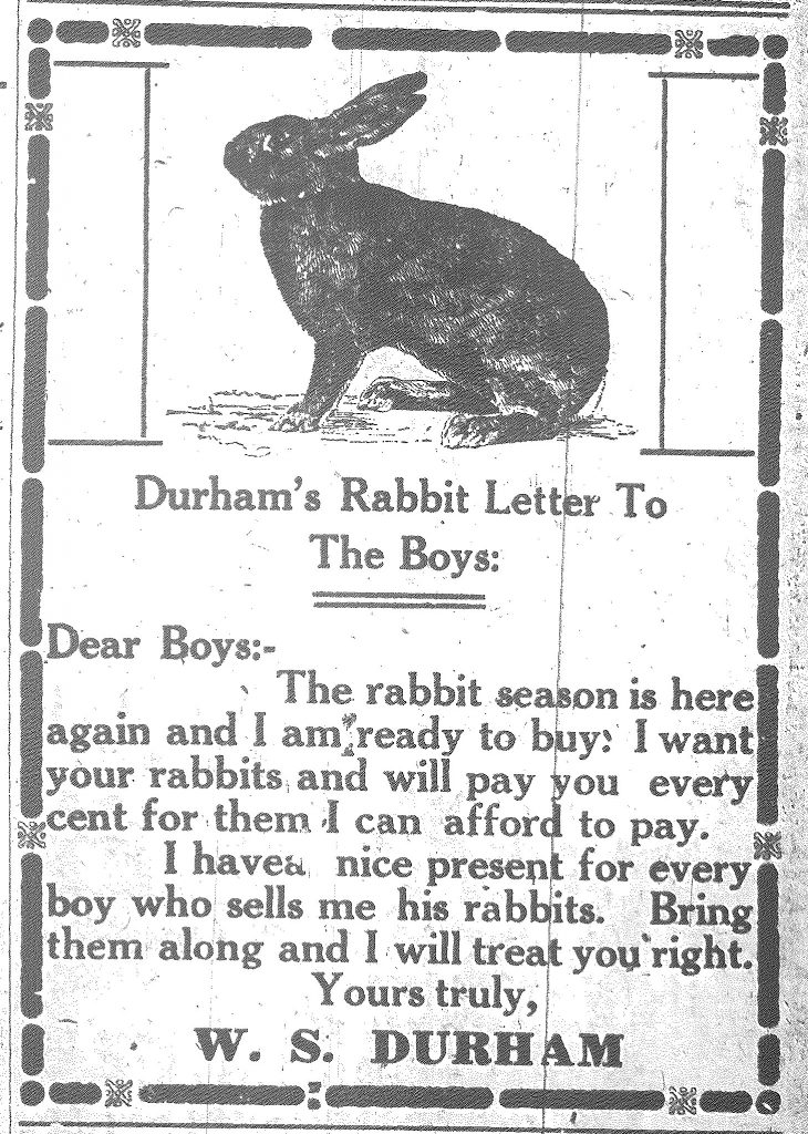 Letter to boys asking them to hunt for rabbits