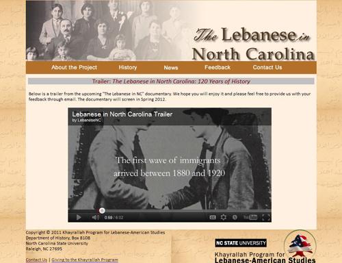 Screen capture of Lebanese in North Carolina website
