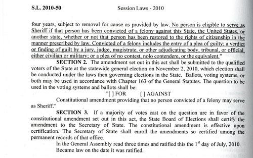 Session laws describing 2010 constitutional amendment