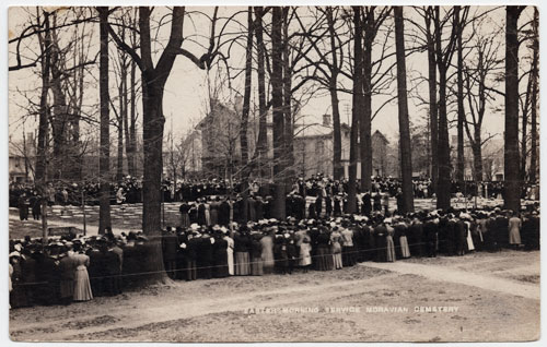 Postcard of crowd at Easter Sunday service in God's Acre