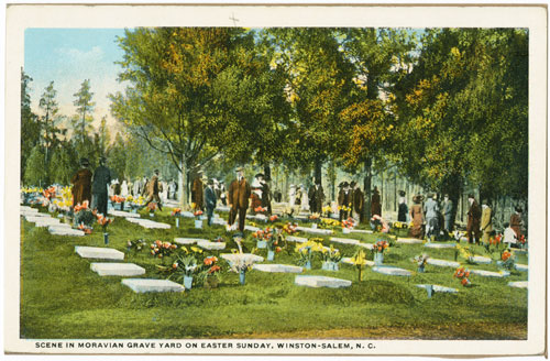 Postcard of flowers and people in God's Acre on Easter Sunday