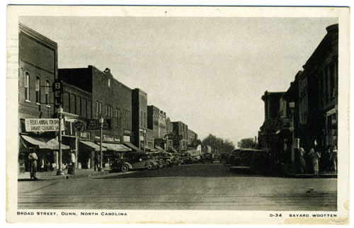 Postcard of downtown Dunn with Belk store