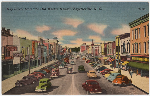 Postcard fo downtown Fayetteville with Belk store