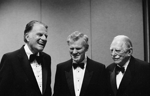 Doc Watson (center) with Billy Graham (left) and Joseph M. Bryan (right) at North Carolina Awards, 1986