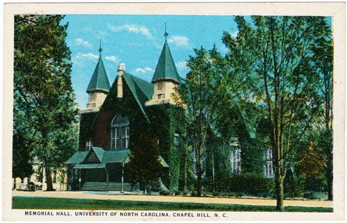 Postcard of Memorial Hall, UNC-Chapel Hill