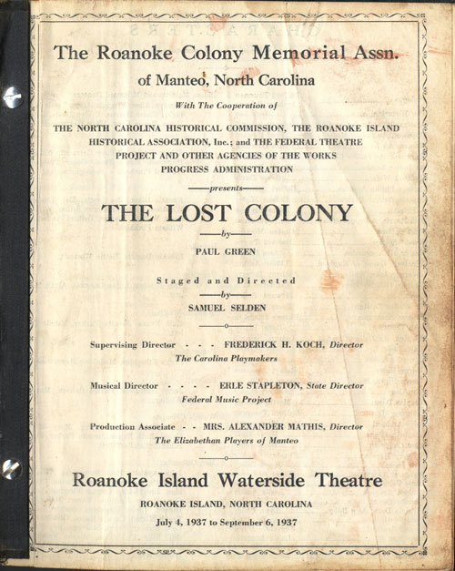 "Title page of Lost Colony ""prompt"" book"