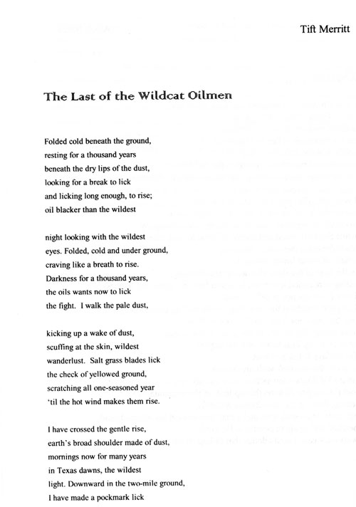 "Tift Merritt poem ""The Last of the Wildcat Oilmen"" section 1"