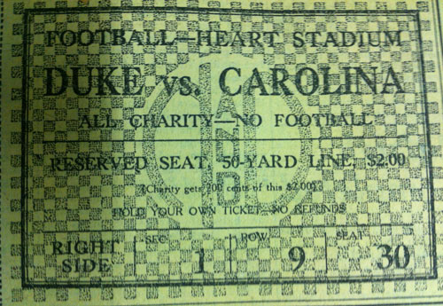 Ticket to UNC-Duke charity no football game in December 1930