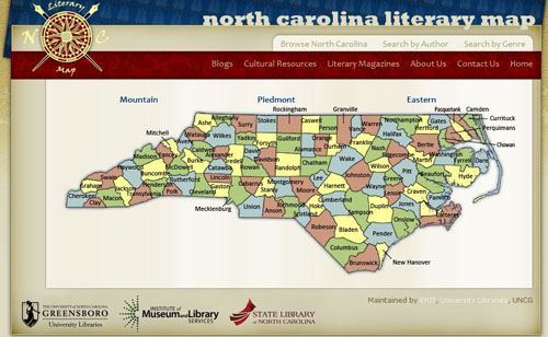 Screenshot of North Carolina Literary Map