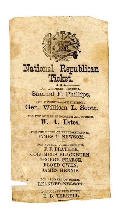 1870 Republican ballot for North Carolina