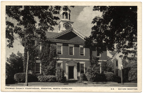 Bayard Wootten postcard of courthouse in Edenton
