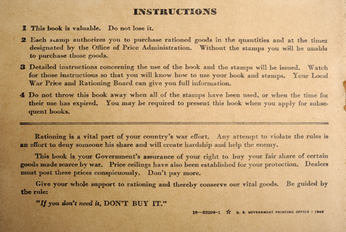 ration book instructions